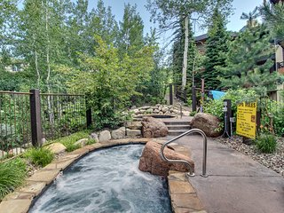 Woodsy ski-in/out condo w/two shared hot tubs, right next to the slopes!