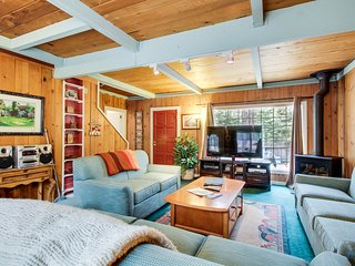 Dog-friendly cabin with private hot tub near Camp Richardson marina.