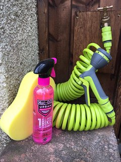 Outdoor tap and hose for cleaning down your bikes.
