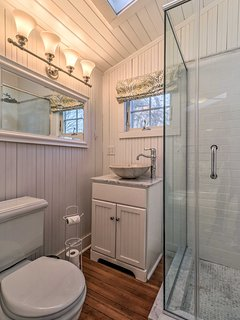 Rinse off in the walk-in shower after an active day outdoors.