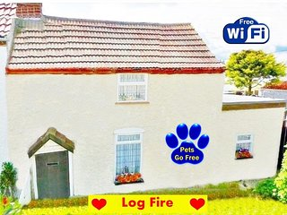 A COSY COTTAGE BY THE SEA - LOG BURNER - ROMANTIC - PETS GO FOR FREE !