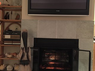 Electric Fireplace, 55' HDTV
