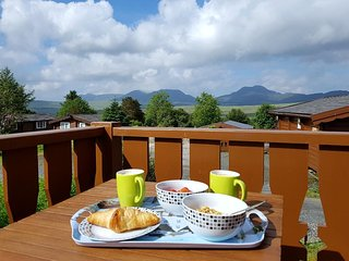 Snowdonia log cabin,clean, cosy, luxurious, mountain views, dog friendly.