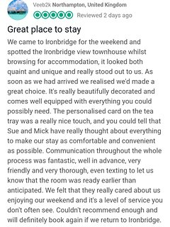 Just one of our wonderful 5 Star reviews. FEB 2019