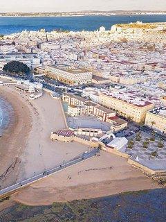 Vista aérea de la playa de La Caleta