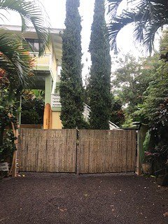 Bamboo Privacy Gate at entry to Property