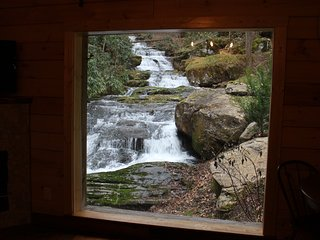Stunning WATERFALL View from INSIDE & OUTSIDE this Historic Cabin