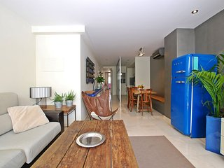 Blue fridge apartment