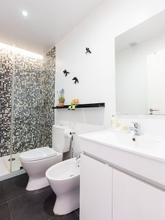 Bathroom | Shower gel and shampoo, liquid hand soap, extra toilet paper and hairdryer