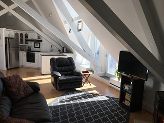 Private Loft in a Historic Gothic Stone Church with a Bell Tower