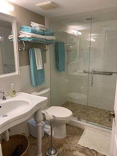 New front bathroom with walk-in shower.