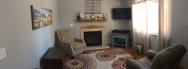 Living room with gas fireplace, wifi and satellite tv
