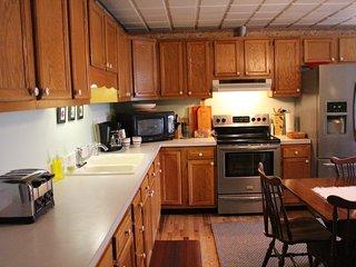 Kitchen with new oak hardwood flooring