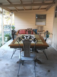 Outdoor dining area.