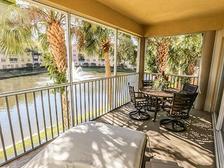 This resort style, lake-front condo has 3 bedrooms and 2 baths, with very