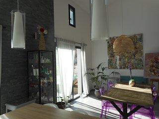 Maison d'artiste lumineuse avec couloir de nage