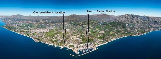 Vårt strandläge i Puerto Banus - 5 minuters promenad till Marina Puerto Banus