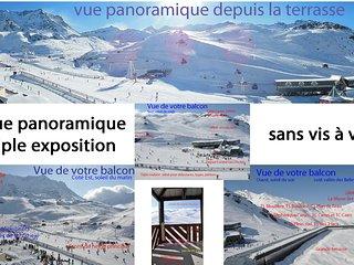 6 personnes, vue panoramique sans vis a vis, sur pistes et remontées