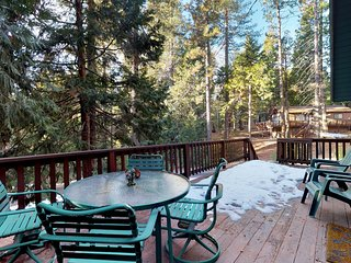 Dog-friendly woodland cabin w/large deck, grill, gas fireplace