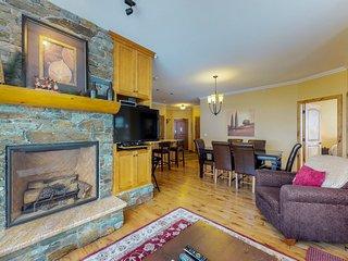 Slopeside condo w/ private hot tub, balcony & ski views - steps to ski trails!