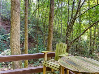 Dog-friendly secluded cabin w/hot tub, fireplace & outdoor firepit