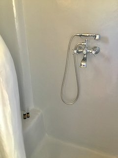 Spacious Mykonian style shower in upstairs private bathroom.