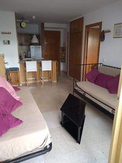 Salón con dos sofás-cama individual de 90 cm. Al fondo, cocina americana.