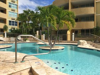 Beautiful 3 bedroom vacation rental apartment, first floor facing the pool, WiFi