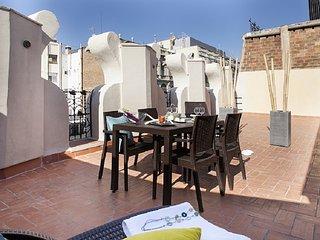 Attic apartment in Las Ramblas with private terrace for 4