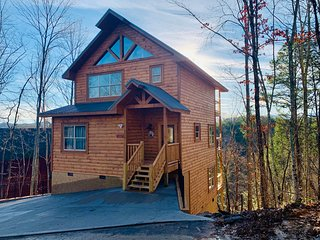 Brand New Cabin-Perfect for families-Hilltop Hideaway- hottub- airhockey-theatre