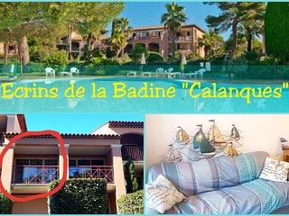 T2 'Calanques' des Ecrins de la Badine direct plage, piscine, face Porquerolles