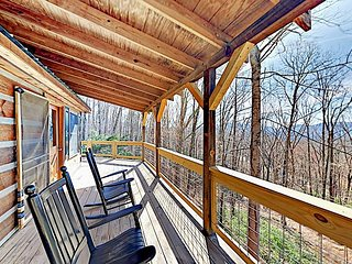 Secluded Log Cabin w/ Waterfall, Stone Fireplace & Mountain-View Deck