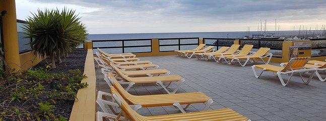 Cómodas tumbonas en el área de piscina para tomar sol y disfrutar la vista al mar