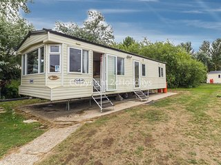 6 berth caravan at Broadland sands park in Suffolk with 'secret garden'.