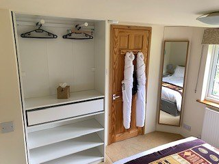 bedroom clothes storage area