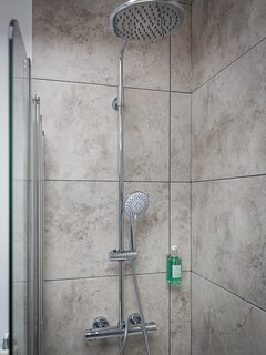All showers have a huge rainhead and separate shower arm.....and Gilchrist and Soames products.