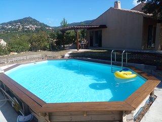 Villa avec piscine au milieu des pins