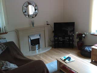 a newly refurbished modern comfortable garden apartment.in portpatrick