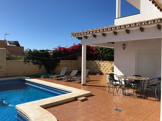 3 Bed Family Villa with Private Pool. Sleeps 6/8. Short walk to town and beach.