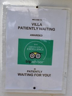 Certificate of Excellence  Awarded to Villa Patiently Waiting by TripAdvisor the top rental website