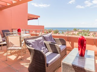 Duplex penthouse,beachside complex with pool, close to Estepona town