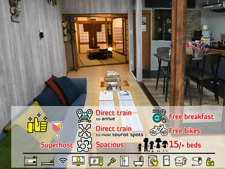108㎡,convenient to Umeda/USJ/Namba, incl.Breakfast, various bedsets to choose