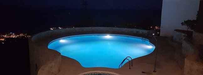 Breizas Private Swimming Pool at night