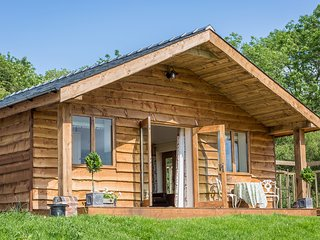 THE LODGE, log cabin, hot tub, outside kitchen with BBQ, near Ludlow,  Ref