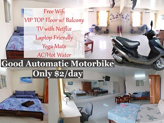 $2/day Motorbike - VIP Top Floor (4th floor) w/ Balcony - TV w/ Netflix