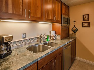 Fully equipped kitchen has everything you'll need.  Hot water on demand, perfect for tea and more.