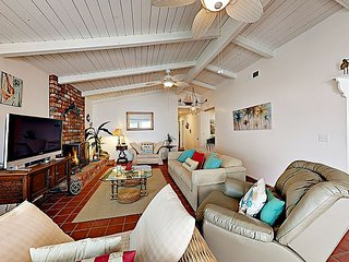 Beachy 3BR w/ Fireplace & 2 Patios – 400 Yards to the Sand!
