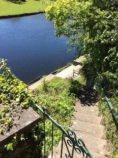 Penlan steps down from terrace to the riverbank