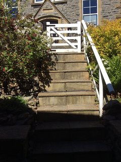 Steps down from the road to Penlan front door