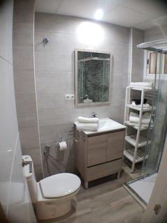 En el baño, hay una ducha con efecto lluvia.